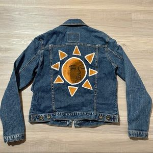 Levi's Custom Hand Painted Sun Face Denim Jacket